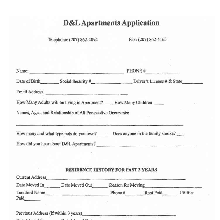 Sample Application And Lease For Apartment Rentals Bangor Maine Area